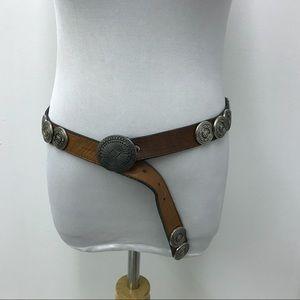 Leather Rock Brown Silver South West Boho Belt XL
